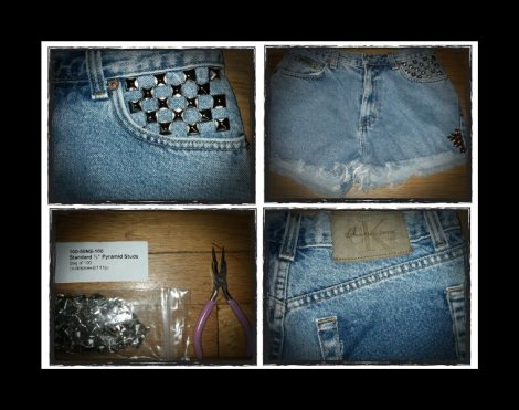 Enter Karizma's Kloset - DIY Vintage Studded Shorts - The Diary of a Natural Gal