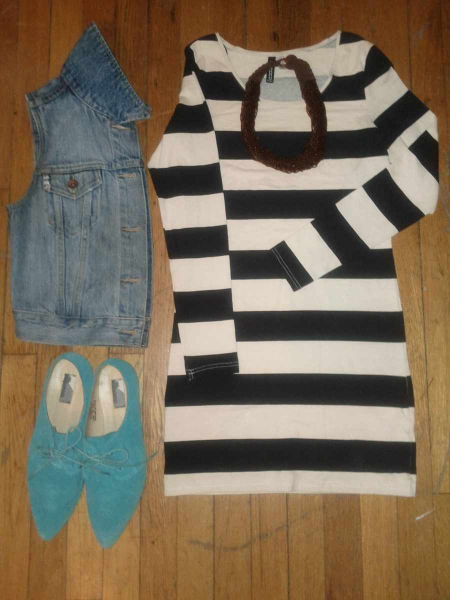 Denim vest and turquoise Oxfords-Urban Outfitters