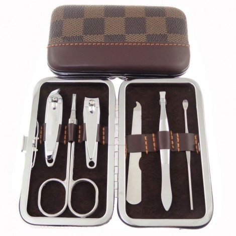 Plaid-print-manicure-set-6pcs-inside-nail-clipper-set-carbon-steel-free-shipping